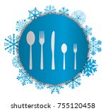 five cutlery christmas icon | Shutterstock .eps vector #755120458