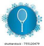racket christmas icon | Shutterstock .eps vector #755120479