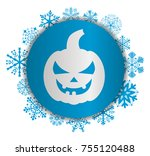 pumpkin halloween christmas icon | Shutterstock .eps vector #755120488