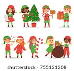 christmas elfs kids vector... | Shutterstock .eps vector #755121208