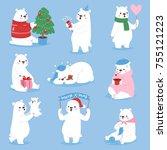 christmas white bear vector... | Shutterstock .eps vector #755121223