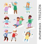 winter christmas kids vector... | Shutterstock .eps vector #755121256