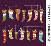 christmas socks vector santa...   Shutterstock .eps vector #755121259