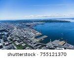 industrial harbor in puget sound | Shutterstock . vector #755121370