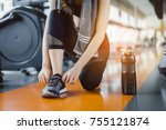 young girl asian knelt down to...   Shutterstock . vector #755121874