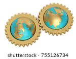 globe and gears on white... | Shutterstock . vector #755126734