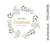 christmas wreath with black and ... | Shutterstock .eps vector #755128558