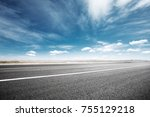 empty asphalt road and snow... | Shutterstock . vector #755129218