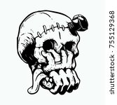 skull with two hands come out... | Shutterstock .eps vector #755129368