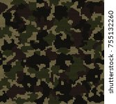 knitted camouflage seamless... | Shutterstock . vector #755132260