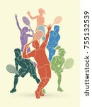 tennis players   men and women... | Shutterstock .eps vector #755132539