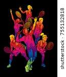 tennis players   men and women...   Shutterstock .eps vector #755132818