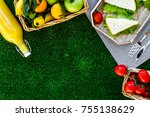 healthy food for picnic.... | Shutterstock . vector #755138629