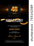 48 years golden anniversary... | Shutterstock .eps vector #755142589