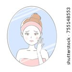 woman care about acne | Shutterstock . vector #755148553