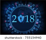 happy new year 2018 .cyber... | Shutterstock .eps vector #755154940