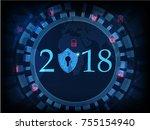 happy new year 2018 .cyber... | Shutterstock .eps vector #755154940