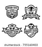 soccer crest in black and white  | Shutterstock .eps vector #755160403