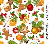 vector christmas seamless... | Shutterstock .eps vector #755165794
