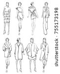 sketch. set of fashion model on ... | Shutterstock . vector #755173198