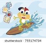 frog the surfer  vector cartoon ... | Shutterstock .eps vector #755174734