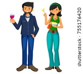 young man and girl eating fast... | Shutterstock . vector #755176420