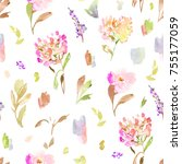 spring watercolor floral pattern | Shutterstock . vector #755177059