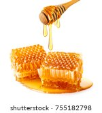 sweet honeycomb and wooden... | Shutterstock . vector #755182798
