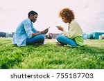 young afro american friends... | Shutterstock . vector #755187703