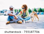 cheerful afro american friends... | Shutterstock . vector #755187706