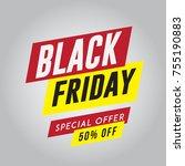 black friday sale sticker or... | Shutterstock .eps vector #755190883