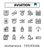aviation and airport outline... | Shutterstock .eps vector #755193106