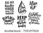 big handlettering set with... | Shutterstock .eps vector #755197024