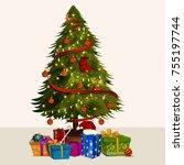 decorative pine tree for happy... | Shutterstock .eps vector #755197744