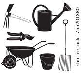 black and white illustrations... | Shutterstock .eps vector #755201380