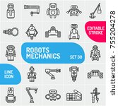 robot icon set. mechanism in a... | Shutterstock .eps vector #755204278