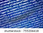 javascript code. computer...   Shutterstock . vector #755206618