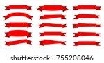 red ribbon. flat vector ribbons ... | Shutterstock .eps vector #755208046