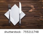 empty white plate with knife...   Shutterstock . vector #755211748