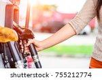 closeup of woman  hand holding...   Shutterstock . vector #755212774