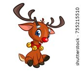 funny cartoon red nose reindeer ... | Shutterstock .eps vector #755215510