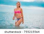 slim body lady outdoor portrait.   Shutterstock . vector #755215564