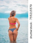 slim body lady outdoor portrait.   Shutterstock . vector #755215570