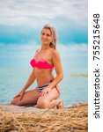 slim body lady outdoor portrait.   Shutterstock . vector #755215648
