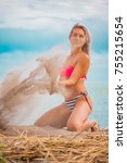 slim body lady outdoor portrait.   Shutterstock . vector #755215654