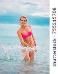 slim body lady outdoor portrait.   Shutterstock . vector #755215708
