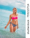 slim body lady outdoor portrait.   Shutterstock . vector #755215714
