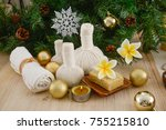 christmas spa with composition... | Shutterstock . vector #755215810
