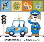 Funny Police Cartoon Vector