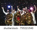 new 2018 year is coming  group... | Shutterstock . vector #755221540